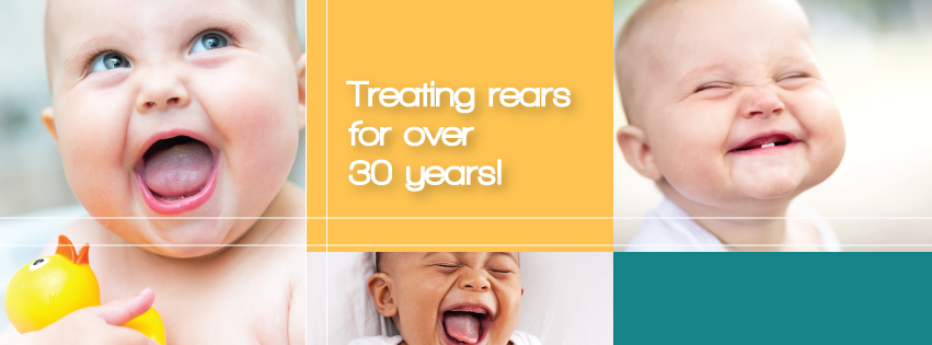"Image of a smiling baby with the words ""Treating Rears for Over 30 Years!"" to advertise the history of Barrier Balm"